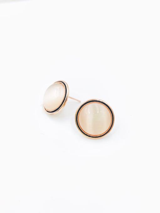 Rose Zinc Alloy Cats Eye White Round Minimalist Stud Earring