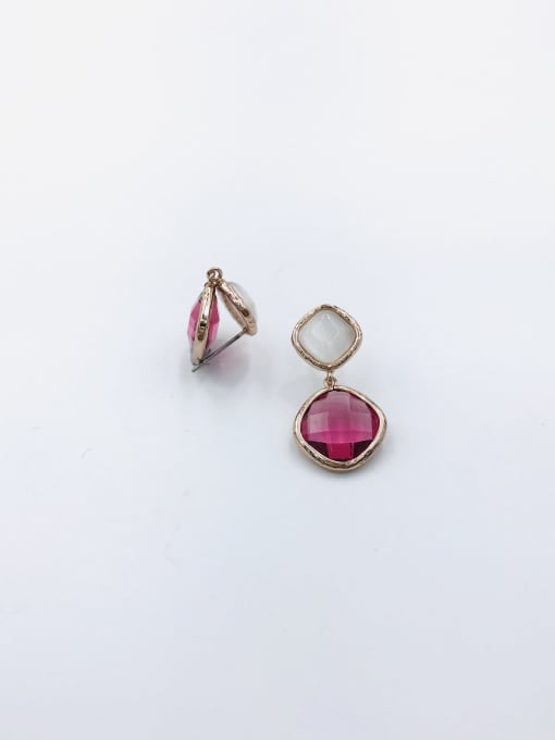 VIENNOIS Brass Glass Stone Red Square Classic Drop Earring
