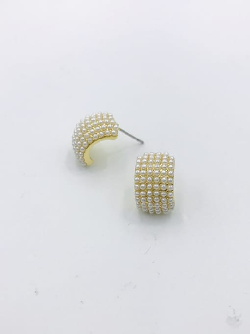 Gold Zinc Alloy Imitation Pearl White Irregular Dainty Stud Earring