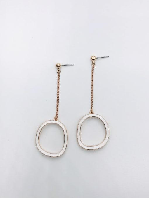ROSE GOLD+WHITE Zinc Alloy Enamel Geometric Minimalist Drop Earring