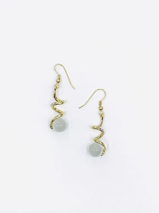 Gold Zinc Alloy Cats Eye White Irregular Trend Hook Earring