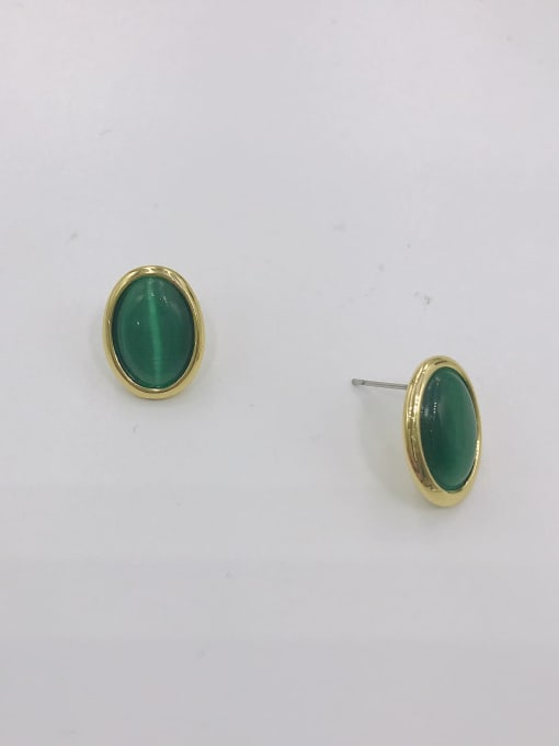 GOLD+GREEN Zinc Alloy Cats Eye White Oval Minimalist Stud Earring
