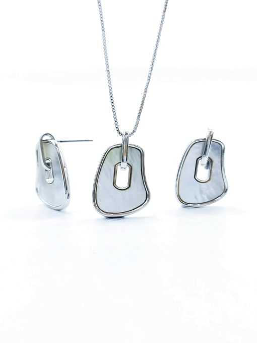 Silver Minimalist Irregular Brass Shell White Earring and Necklace Set