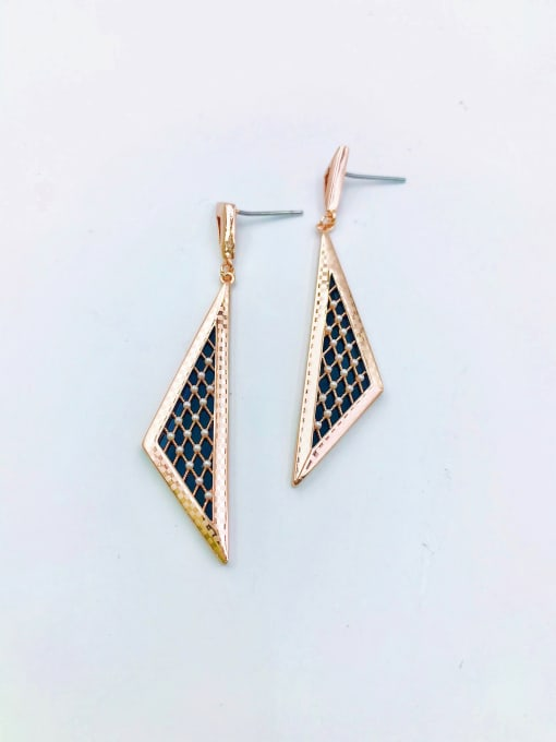 Rose Brass Imitation Pearl White Acrylic Triangle Classic Drop Earring