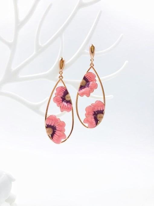rose gold+red&pink enamel Brass Enamel Water Drop Statement Drop Earring