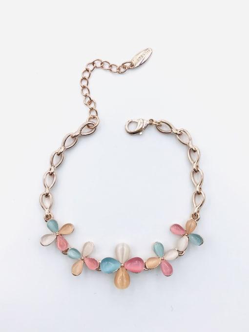 VIENNOIS Zinc Alloy Cats Eye Multi Color Flower Trend Bracelet
