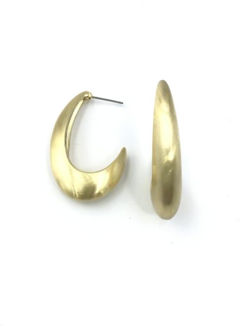 Gold Zinc Alloy Hook Minimalist Stud Earring