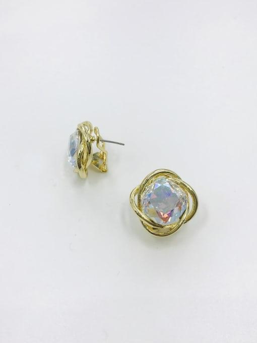 Multi Zinc Alloy Glass Stone Red Irregular Minimalist Clip Earring