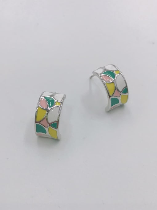 iMITATION RHODIUM +GREEN+PINK+YELLOW Zinc Alloy Enamel Geometric Minimalist Stud Earring