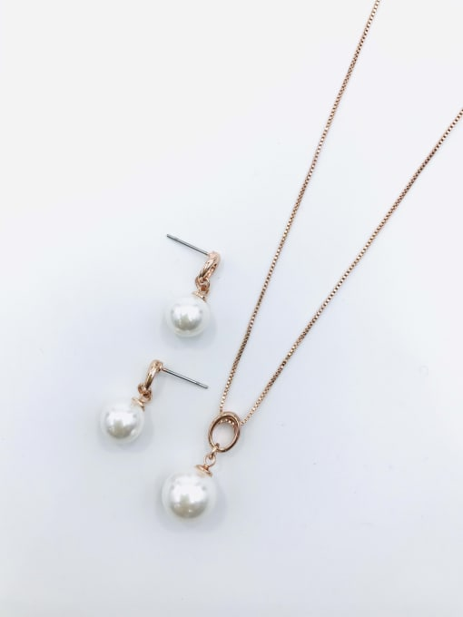 VIENNOIS Minimalist Ball Zinc Alloy Imitation Pearl White Earring and Necklace Set 0