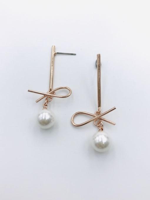 VIENNOIS Zinc Alloy Imitation Pearl White Irregular Trend Drop Earring 0