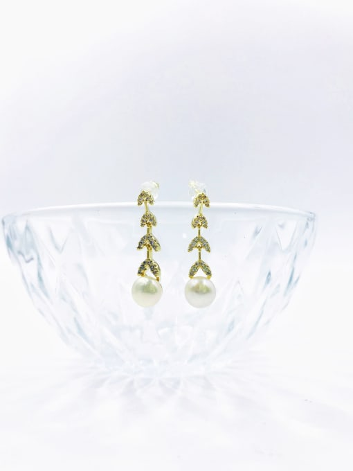 VIENNOIS Brass Imitation Pearl White Leaf Dainty Drop Earring 0