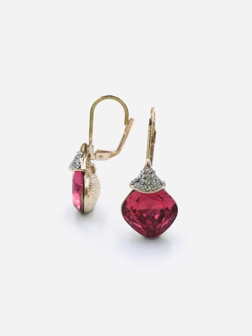 VIENNOIS Zinc Alloy Glass Stone Red Square Minimalist Huggie Earring 0