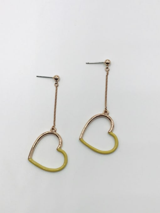 ROSE GOLD+KHAKI Zinc Alloy Enamel Heart Minimalist Drop Earring