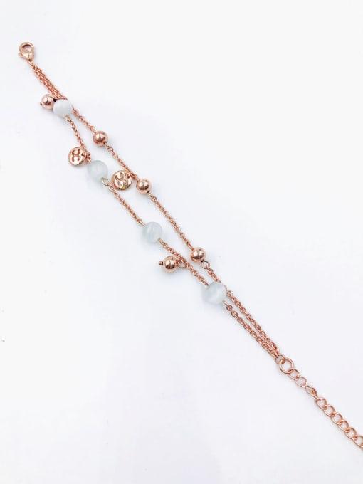Rose Zinc Alloy Cats Eye White Letter Trend Bracelet