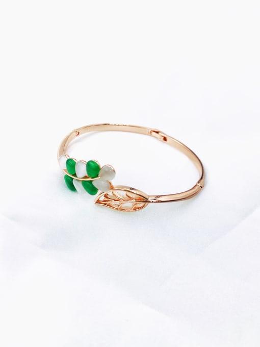 Green Zinc Alloy Cats Eye Multi Color Leaf Trend Band Bangle