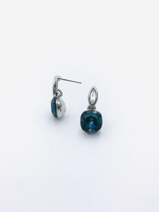 Blue Zinc Alloy Glass Stone Red Square Minimalist Drop Earring