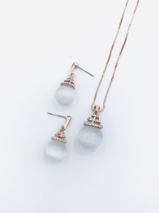 VIENNOIS Classic Ball Zinc Alloy Cats Eye White Earring and Necklace Set 0