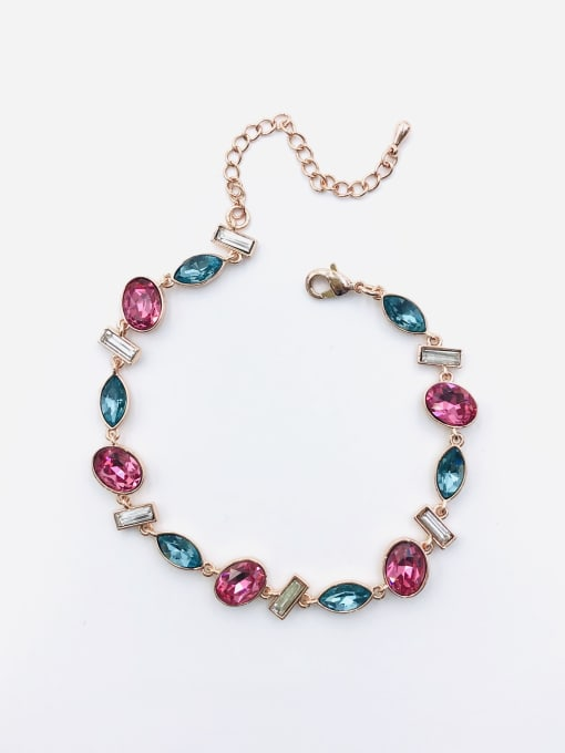 Rose Brass Glass Stone Multi Color Geometric Trend Bracelet