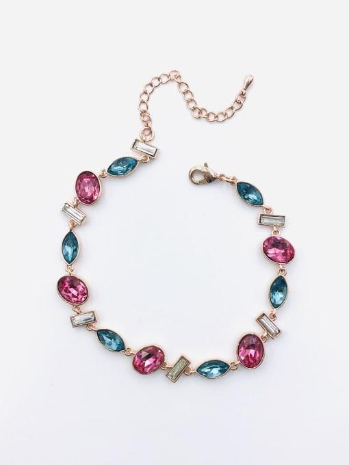 VIENNOIS Brass Glass Stone Multi Color Geometric Trend Bracelet 1