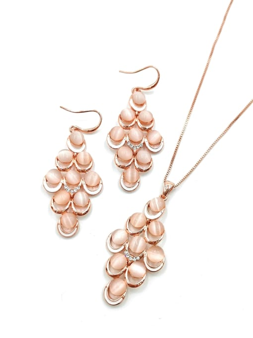 VIENNOIS Trend Geometric Zinc Alloy Cats Eye White Enamel Earring and Necklace Set 0