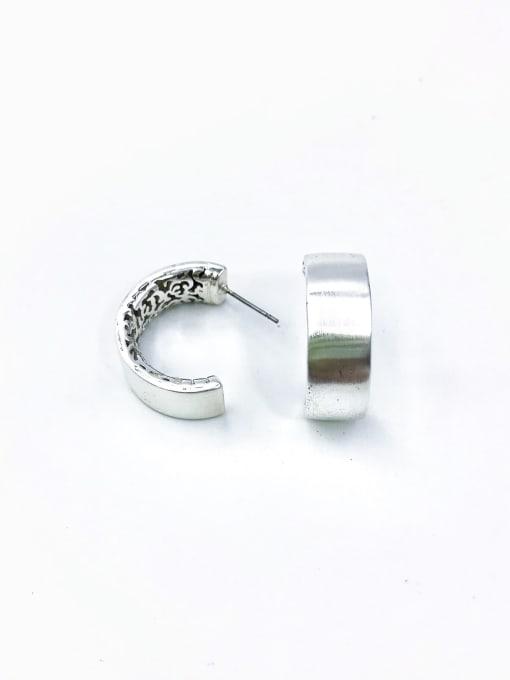Silver Brass Hook Minimalist Stud Earring