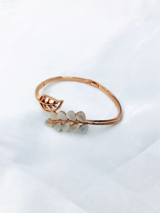 VIENNOIS Zinc Alloy Cats Eye Multi Color Leaf Trend Band Bangle 1