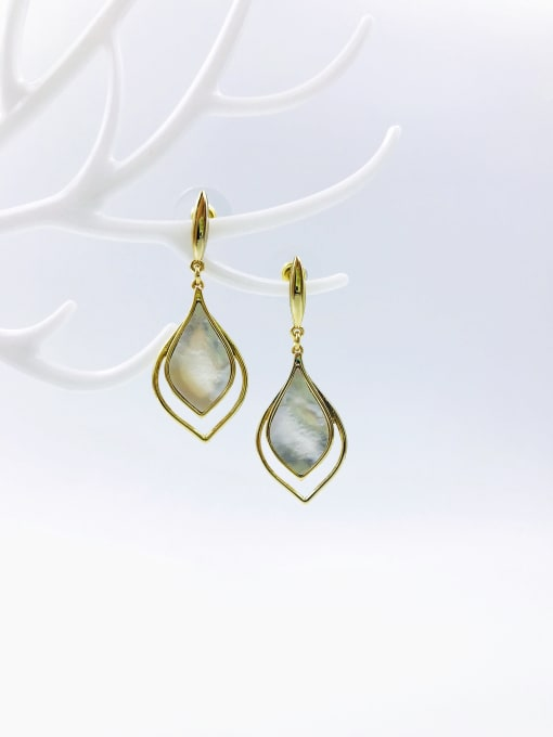 VIENNOIS Zinc Alloy Shell White Pear Shaped Trend Drop Earring 0