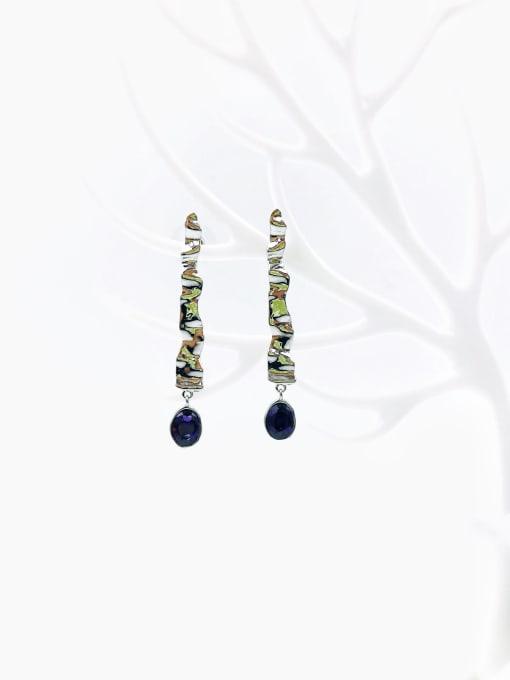 VIENNOIS Brass Glass Stone Purple Irregular Trend Drop Earring 0