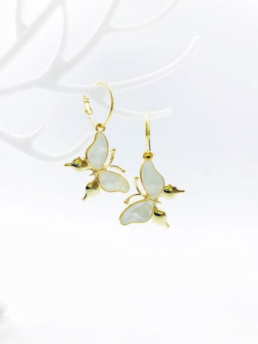 Gold Zinc Alloy Shell White Butterfly Trend Drop Earring