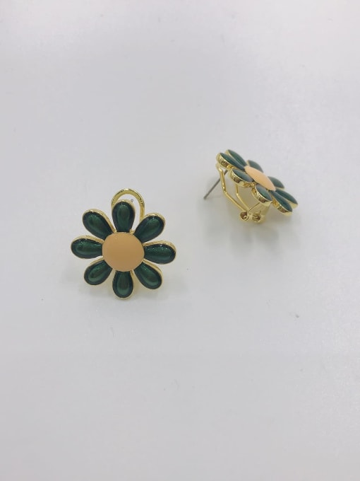 GOLD+GREEN+ORANGE Zinc Alloy Enamel Flower Trend Clip Earring