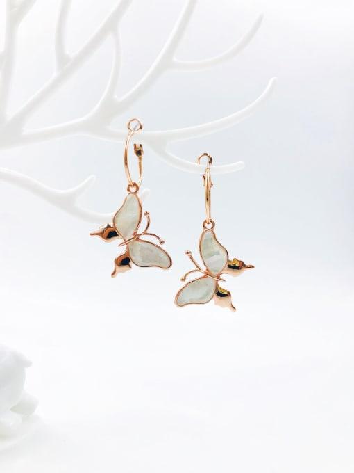 Rose Zinc Alloy Shell White Butterfly Trend Drop Earring