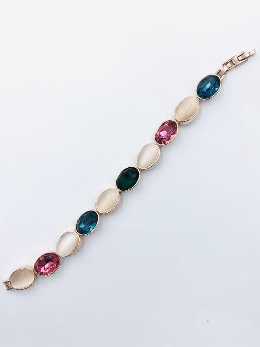 VIENNOIS Zinc Alloy Glass Stone Multi Color Oval Trend Bracelet