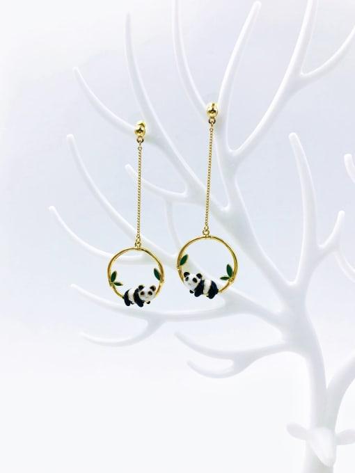 VIENNOIS Brass Enamel Round Trend Drop Earring