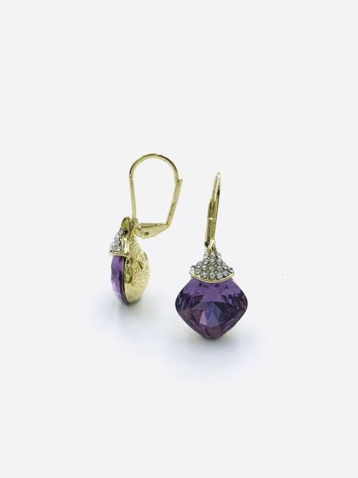 Purple Zinc Alloy Glass Stone Red Square Minimalist Huggie Earring
