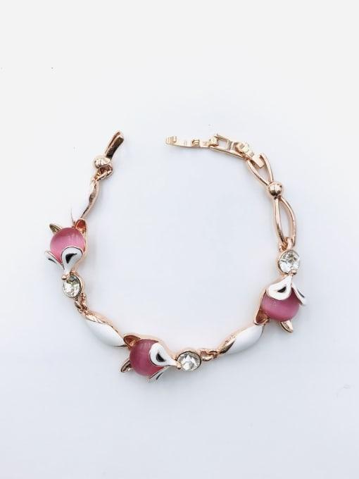 VIENNOIS Zinc Alloy Cats Eye White Enamel Fox Trend Bracelet 1