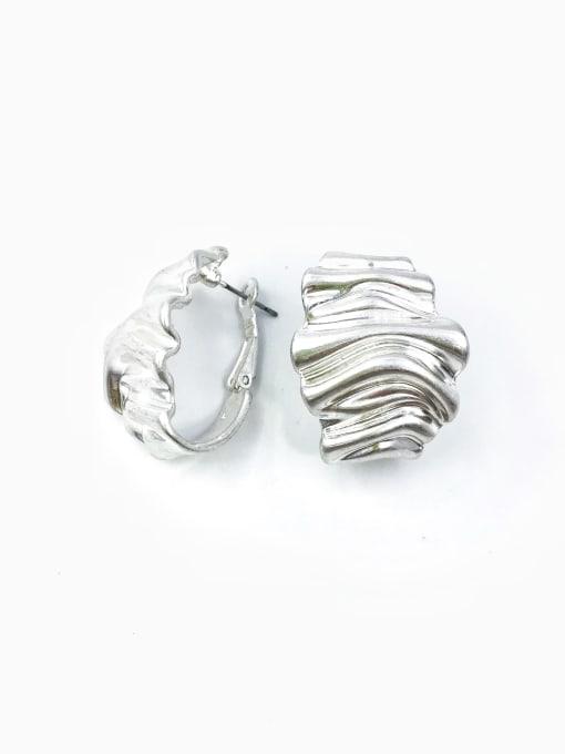 Silver Zinc Alloy Irregular Minimalist Huggie Earring