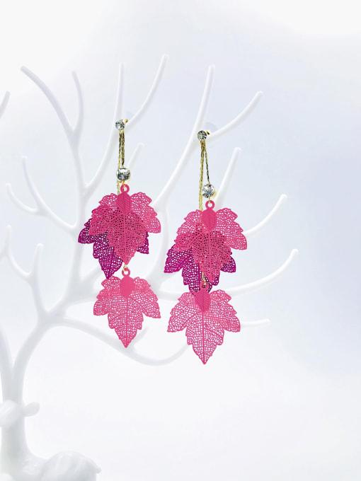 Pink Zinc Alloy Rhinestone White Leaf Statement Drop Earring