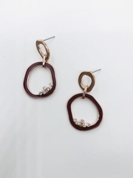 ROSE GOLD+BROWN+RED Zinc Alloy Rhinestone White Enamel Irregular Minimalist Drop Earring