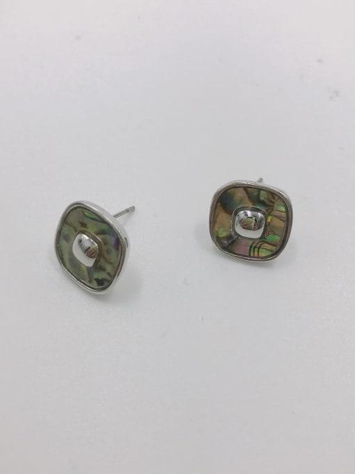 VIENNOIS Zinc Alloy Shell White Geometric Minimalist Stud Earring 1