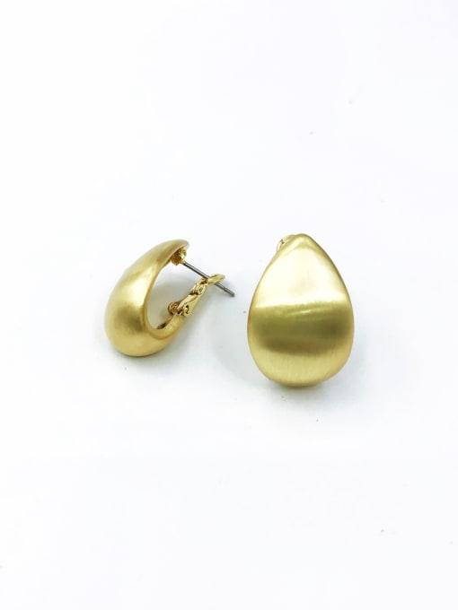 Gold Zinc Alloy Water Drop Minimalist Huggie Earring