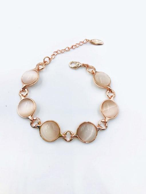 VIENNOIS Zinc Alloy Cats Eye White Clover Minimalist Bracelet 0
