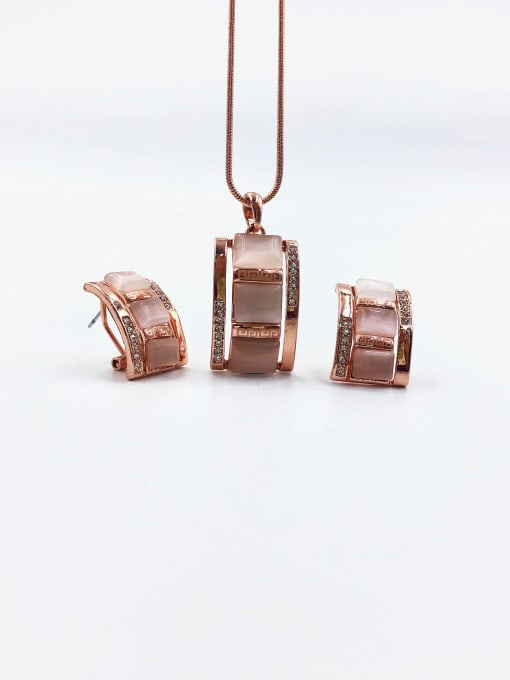VIENNOIS Classic Rectangle Zinc Alloy Cats Eye White Earring and Necklace Set