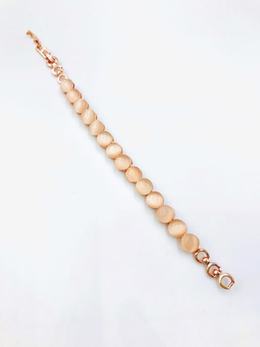 VIENNOIS Zinc Alloy Cats Eye White Round Minimalist Bracelet 0