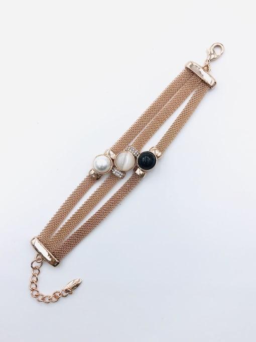 VIENNOIS Zinc Alloy Imitation Pearl Black Classic Bracelet 0