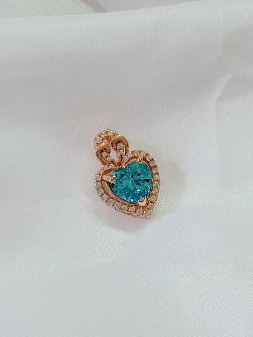 YUEFAN Heart 925 Sterling Silver Cubic Zirconia Blue Dainty Pendant 0