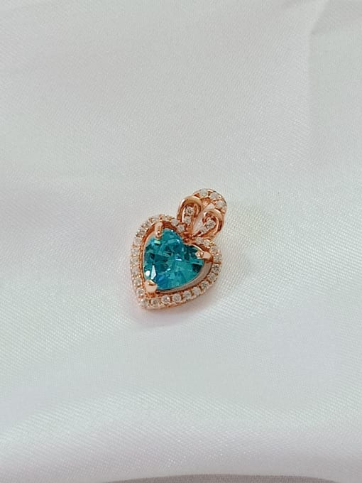 Rose gold and blue Heart 925 Sterling Silver Cubic Zirconia Blue Dainty Pendant