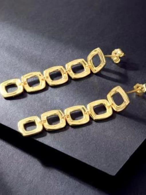 YUEFAN 925 Sterling Silver Square Minimalist Drop Earring 2