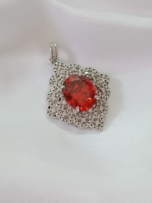 rhodium and red Oval 925 Sterling Silver Cubic Zirconia Red Dainty Pendant