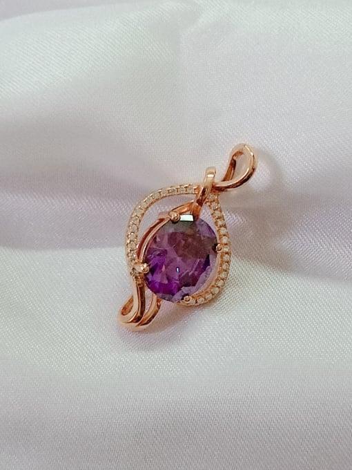 Rose Heart 925 Sterling Silver Cubic Zirconia Purple Dainty Pendant